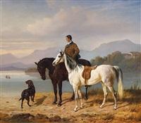 chiemseelandschaft mit reiter und gesatteltem schimmel by franz adam