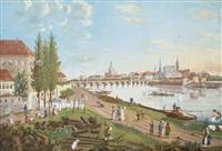 blick auf dresden vom rechten elbufer unterhalb der augustusbrücke by d. g. dähne