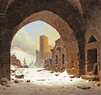 klosterruine im schnee by carl georg adolph hasenpflug