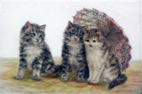 kittens beside a parasol and a pot plant (pair) by bessie bamber