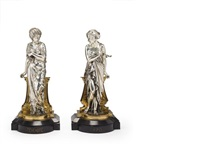 classical greek female figures (pair) by auguste joseph peiffer