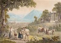 landschaft bei thun mit figurenstaffage by gabriel ludwig lory