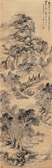 平岗观瀑 (landscape after wang hui) by deng tao