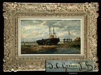 schiff bei ebbe aufliegend by johan conrad greive