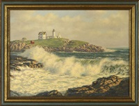 coastal view of a lighthouse by josef m. arentz