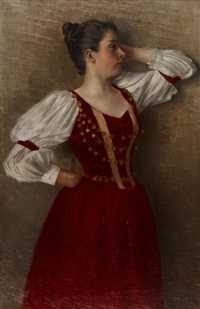 jeune danseuse en robe rouge by hans dietzi