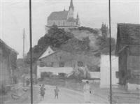 dorfansicht mit einer barockkirche auf einer anhöhe by alfred renz