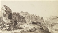 landschaft mit felsblöcken und blick in die savoyen - landschaft mit gehöft (2 works) by jean-antoine linck