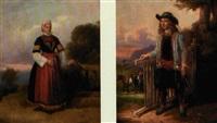 en tysk storbonde og hans kone i deres egnsdragter (pair) by christian rudolph vogelsang