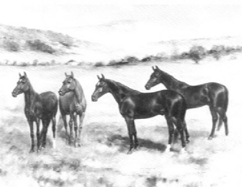 "portrait of four winners, ""alix,"" ""creseus,"" starpointer,"" and ""the abbott"" by jean smith"