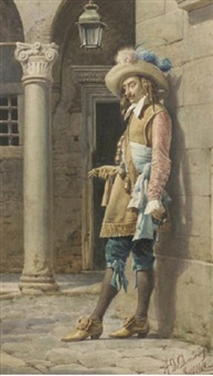 a cavalier leaning against a wall by a. de dominici