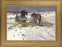winter feed (+ horses eating at the farm; 2 works) by leonid ignatevich vaishlya