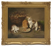 kittens and a basket by continental school (19)