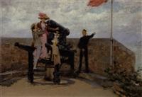 ungt par ved en kanonstilling på et fæstningsanlæg ved havet by pierre outin