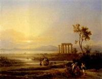 küstenlandschaft mit tempelruine in kalabrien by hans salomon ziegler