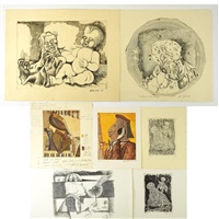 druckgraphiken mit div. motiven (8 works) by erich smodics