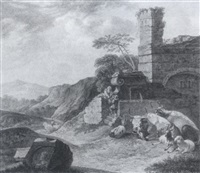 südliche landschaft mit einer ruine und einem brunnen, neben dem vieh lagert by johann friedrich morgenstern