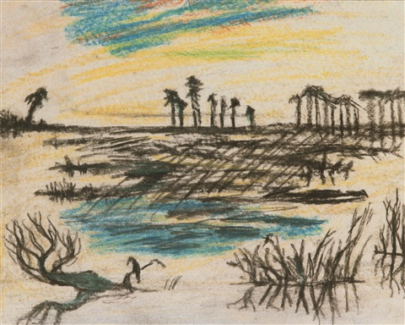 våtmark med svart fågel by carl fredrik hill