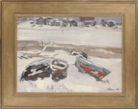 volhov in the winter (+ resting on the sled; 2 works) by leonid ignatevich vaishlya