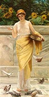 ung pige klædt i lette gevandter der fodrer duer by william harris weatherhead