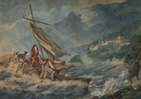 segelboot, beladen mit vier männern, pferd und hund, in seenot by johann conrad gessner