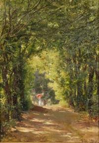 paesaggio boschivo con signora con ombrellino rosso by fulvia bisi