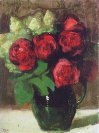 stilleben mit roten rosen in grüner henkelvase by ottilie w. roederstein