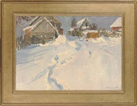winter light in the village (+ the porch; 2 works) by leonid ignatevich vaishlya