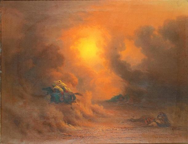 sandstorm vid gize ridande beduiner by johann jakob frey