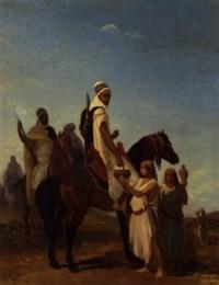 cavaliérs arabes acceptant du lait dans le désert by louis eugène ginain
