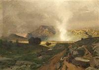 munk, der holder hvil i et bjergrigt landskab under optrækkende uvejr by rudolf huthsteiner