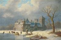 winterlandschaft mit einer burg und eisläufern by caesar bimmermann