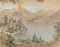 schloss oberhofen (+ blick nahe zimmerwald auf die jungfrau, verso) by julius jacob the elder