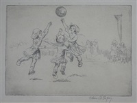 netball (+ netball (study), drawing, smllr; 2 works in 1 frame) by eileen alice soper