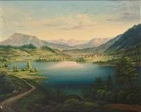 blick von der höhe auf den alpsee und immenstadt, im hintergrund bergpanorama mit mädelegabel by franz xaver glötzle