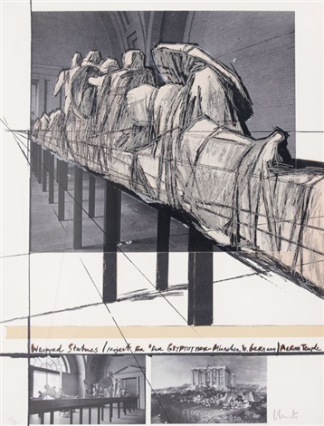 wrapped statues project for die glyptothek münchen by christo and jeanne claude