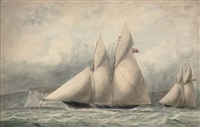 cambria and sappho in close quarters off the isle of wight by william edward atkins