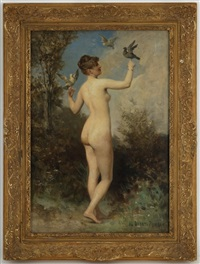 nu aux pigeons by edouard bernard debat-ponsan