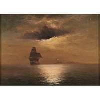 moonlit maritime scene with lighthouse by william formby halsall