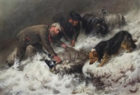shepherds and dog rescuing sheep from the snow by maud earl
