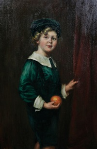 maboy holding an orange by florence marks