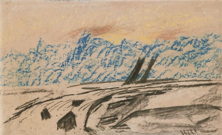 älvlandskap med blå berg by carl fredrik hill