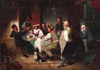 heimkehr des soldaten. familie bei tisch lauscht den erzählungen des heimkehrers by hermann götz