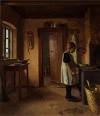 en lille pige, der bager æbleskiver by niels holbak