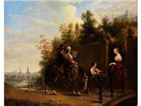 wandermusikanten empfangen almosen an einem parktor by henricus engelbertus reijntjens