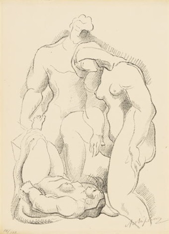 three figures one in repose by alexander archipenko