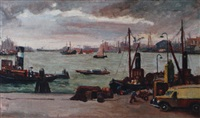view of the amsterdam harbour by claas prins