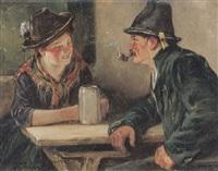 plauderndes oberbayerisches trachtenpaar am biertisch by leonhard wilhelm lehmann
