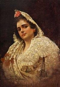 portræt af en elegant spanierinde by adolfo aguila y acosta