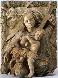 maria mit jesuskind als halbfigur auf einer von der schlange umwundenen weltkugel by balthasar ableitner